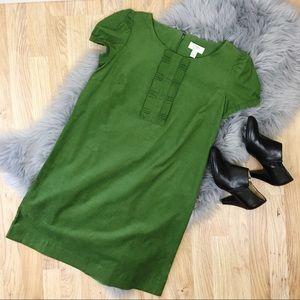 LOFT Corduroy Pleated Ruffle Shift Dress